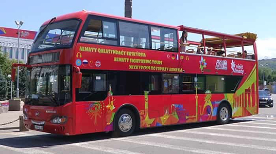 Double-decker tourist bus has been launched in Almaty